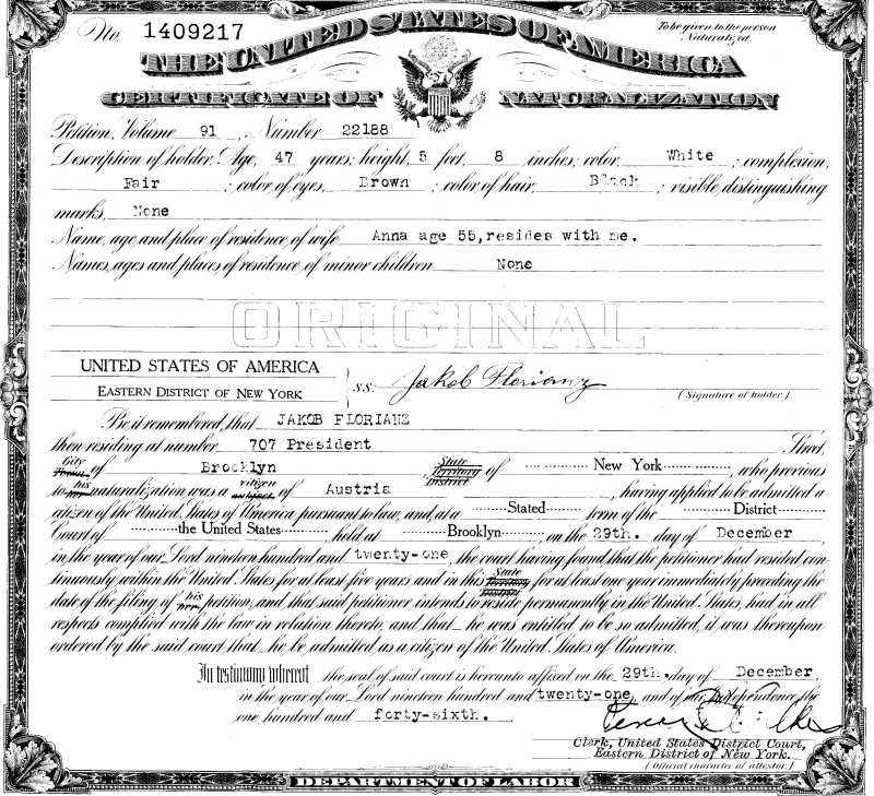 Here     s my great grandfather     s marriage certificate to Anna Gallo  dated       He was already    years old when he married her  and she lived until just     Frank s Photography Site